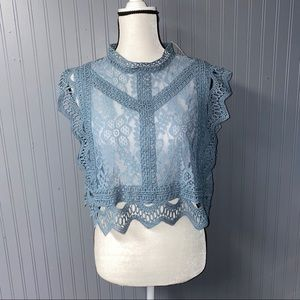 Women's Charlotte Russe Lace Crop Top Tee XL